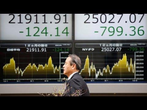 شاهد تراجع أسواق البورصة العالمية إثر هبوط وول ستريت