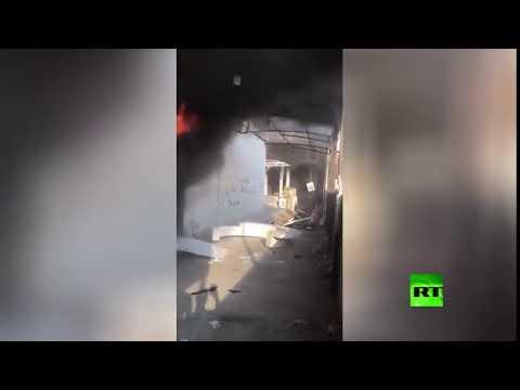 شاهد إحراق مقر قناة فضائية في العراق بثت أغاني في يوم عاشوراء