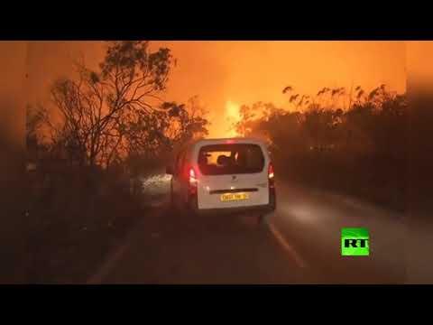 شاهد حرائق ضخمة في غابات تيبازة الجزائرية ومقتل شخصين