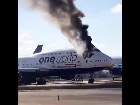 شاهد اندلاع حريق في طائرة تابعة إلى الخطوط البريطانية في إسبانيا