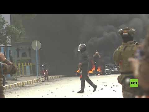 شاهد استمرار المظاهرات المطالبة باستقالة الحكومة المحلية في النجف جنوب العراق