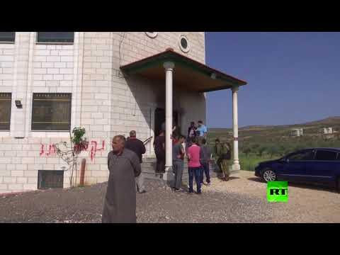 إضرام النار في مسجد قرية عقربا في نابلس