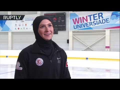 شاهد أول محجبة إماراتية تشارك في بطولة للتزحلق على الجليد