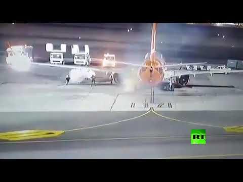 شاهد احتراق عجلة طائرة وتصرف احترافي من الموظفين في شرم الشيخ