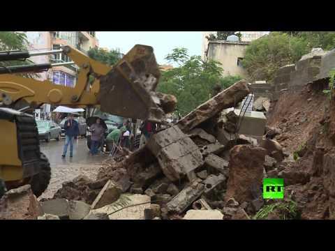 شاهد عاصفة قوية تسبب انهيارات في المقبرة اليهودية الوحيدة في بيروت