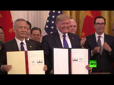 شاهد ترامب ونائب الرئيس الصيني يوقعان اتفاقا تاريخيًا لـإنهاء الحرب