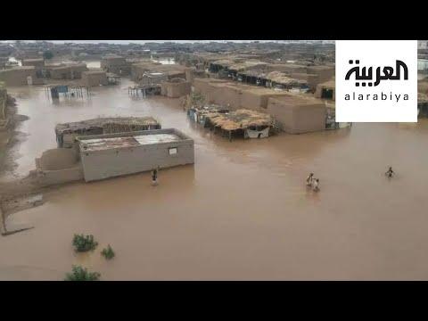 شاهد الفيضانات تدمر عشرات المنازل في الخرطوم