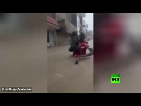 شاهد شوارع وطرق عاصة السنغال تتحول إلى أنهار جراء الفيضانات