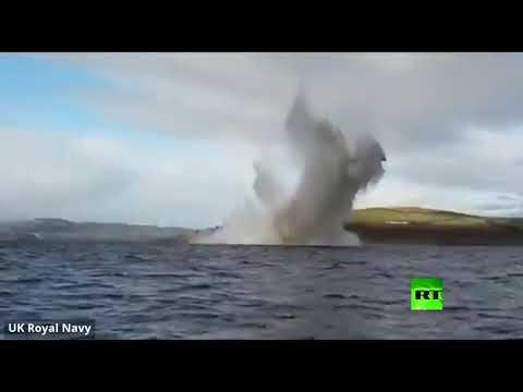 شاهد البحرية البريطانية تنشر فيديو لتفجير قنبلة من الحرب العالمية الثانية